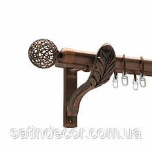 Карниз для штор металевий САВОНА подвійний 25+19 мм 3.0 м РЕТРО Мідь