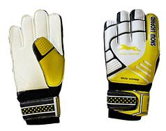 """Перчатки вратарские """"Снежный барс"""", белые с желтым"""