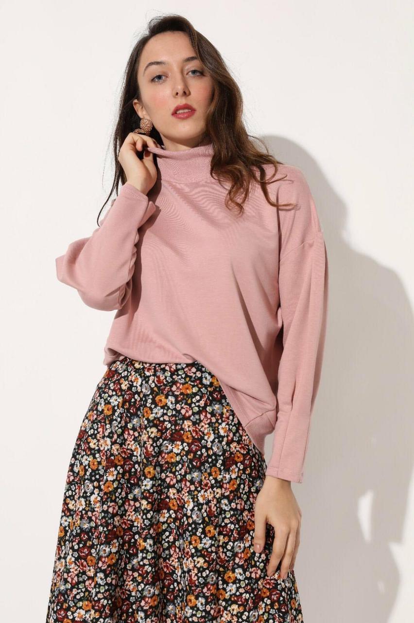 Повседневный женский пуловер с высоким горлом S-XL (в расцветках)