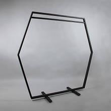 Вешалка рейл GoodsMetall в стиле Лофт 1640х1640х460мм Шестигранник, Вешалка из метала 180 см, Вешалка лофт