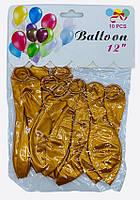 Воздушные шары 2008116 америка Золотой 2,8г 30см 10штук уп12