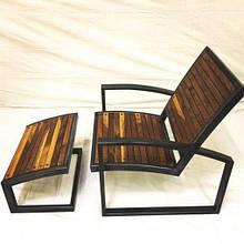 Кресло-Шезлонг GoodsMetall из металла и дерева в стиле LOFT КР1
