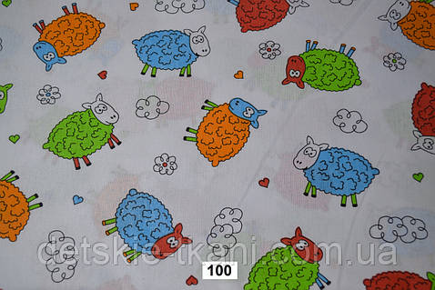 """Польская бязь шириной 160 см """"овечки на белом фоне"""" (№100)."""