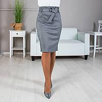 Трикотажная юбка с поясом серая