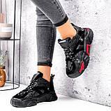 Кроссовки женские Ella черные с красным, фото 5
