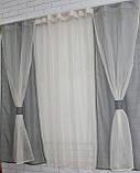 Комплект на кухню, тюль і шторки №56, Колір сірий з бежевим, фото 2