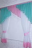 Кухонні завісь, шторки з ламбрекеном. Колір блакитний з рожевим. На карниз 1,5-2м. №49, фото 3