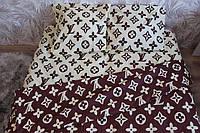 Постельное белье двуспальное Louis Vuitton бежево-коричневое