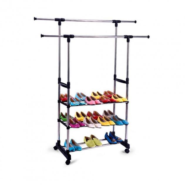 Вешалка для одежды с полками для обуви Double Pole телескопическая 1300/450/1600 (300728)