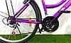 Міський велосипед Mustang Sport 24*162 Чорно Бузковий Крила, Багажник, Кошик, 21 Швидкість жіночою рамою, фото 2