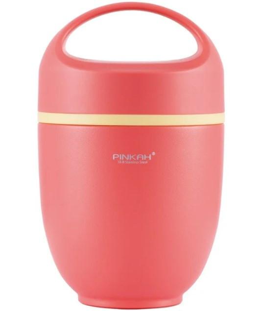 Термос ланч бокс Pinkah PJ-3333-L 820 мл Рожевий