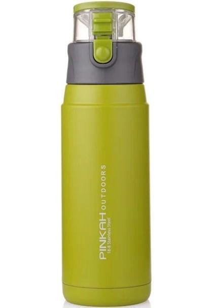 Бутылка-термос спортивная Pinkah PJ-3504 650 мл Зеленая с серым