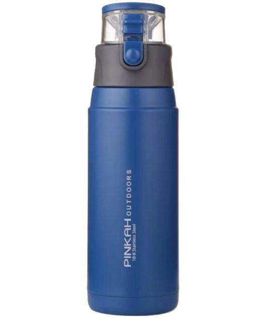 Пляшка-термос для спорту Pinkah PJ-3504 650 мл Синій з сірим