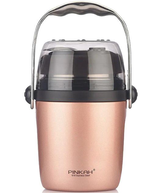 Термо ланч-бокс для еды Pinkah PJ-3349 950 мл Розовое золото