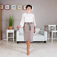 Классическая трикотажная юбка бежевая