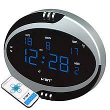Настільні мережеві годинник VST-770 Т-5 з циферблатом і пультом Сріблясті/ сині (3012131А)