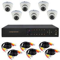Готовый комплект AHD видеонаблюдения высокого разрешения 720P для самостоятельной установки с 6-ю купольными к