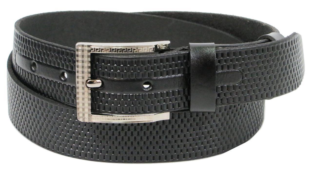 Ремень мужской из кожи под джинсы Skipper 3.8 см Черный (1293-38)