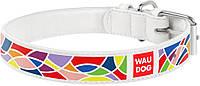 366215 Collar WauDog Design Витраж кожаный ошейник белый, 27-36см/15мм