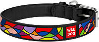 36611 Collar WauDog Design Витраж кожаный ошейник черный, 21-29см/12мм