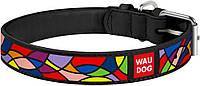 36671 Collar WauDog Design Вітраж шкіряний нашийник чорний, 46-60см/35мм