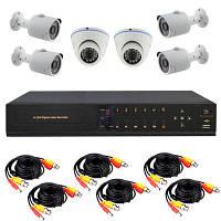 """Комплект видеонаблюдения AHD на 6 камер + HDD 1Tb в подарок, HD 720P """"Установи сам"""" (AHD KIT 2V4N)"""