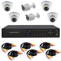 Готовый комплект AHD видеонаблюдения высокого разрешения 720P для самостоятельной установки с 4-мя купольными