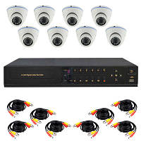 Готовый комплект AHD видеонаблюдения высокого разрешения 720P для самостоятельной установки с 8-ю купольными к