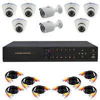 Комплект видеонаблюдения AHD, 8 камер + HDD 1 Tb в ПОДАРОК, с 6 купольных + 2 уличные камеры HD 720P