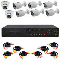 Комплект видеонаблюдения AHD, 8 камер + HDD 1 Tb в ПОДАРОК, 6 уличных + 2 купольных камеры HD 720P