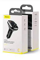 Авто Bluetooth FM-модулятор Baseus Автомобильный трансмиттер и адаптер с микрофоном Type-C, USB, TF (black)