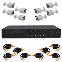 Готовый комплект AHD видеонаблюдения высокого разрешения 720P для самостоятельной установки с 8-ю уличными кам