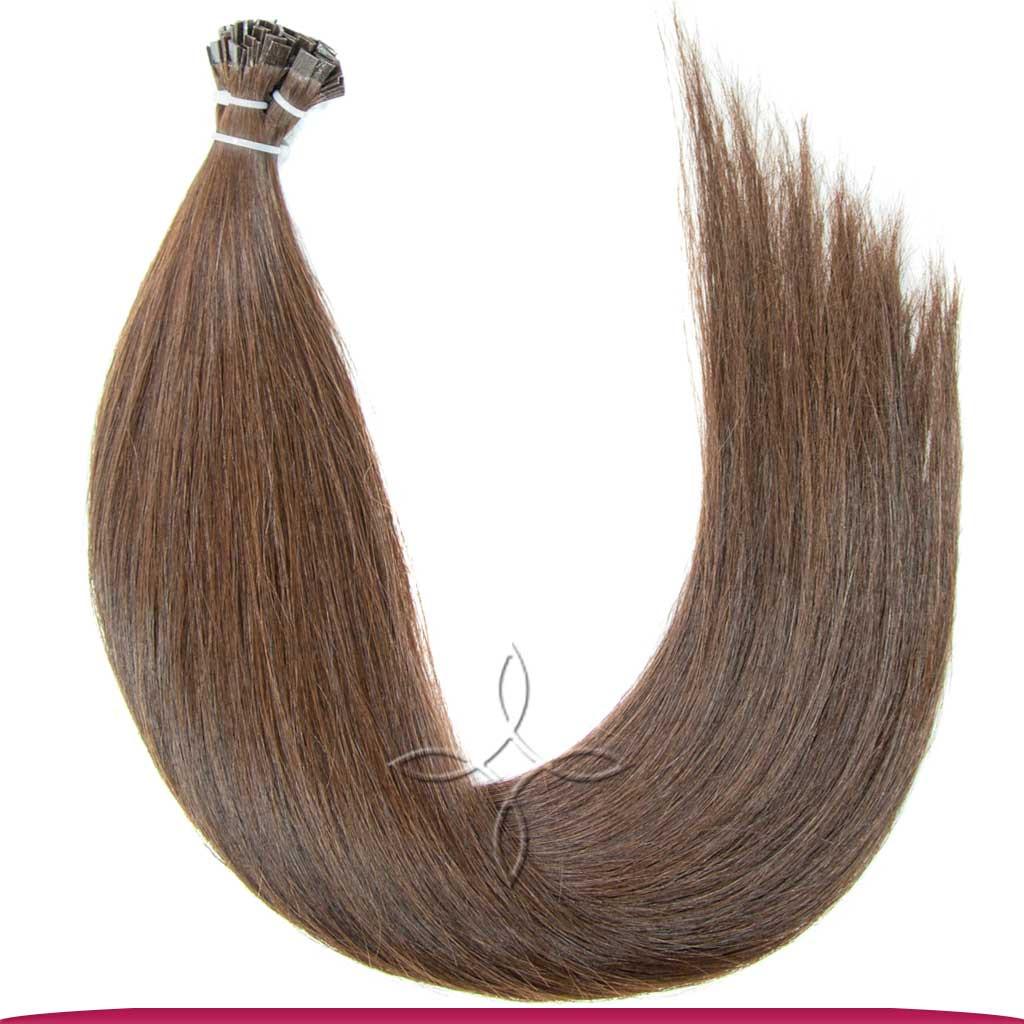 Натуральные Европейские Волосы на Капсулах 50 см 100 грамм, Шоколад №04