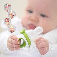 Ниблер силиконовый для кормления малыша+футляр. Салатовый