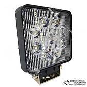 Додаткова світлодіодна фара точкового (дальнього) світла 27W/30 квадратна 10-30V