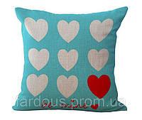 Декоративная подушка с принтом. Сердечки, любовь
