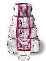 Набор из прозрачных сумок в роддом Mommy Bag, размеры - S, M, L, XL + органайзер, цвет - Розовый
