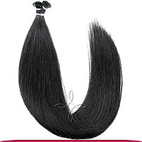 Натуральные европейские волосы на капсулах 55-60 см 100 грамм, Черный №01