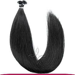 Натуральные Европейские Волосы на Капсулах 60 см 100 грамм, Черный №01