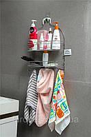 Двухъярусная полка в ванную из нержавеющей стали с крючками для полотенец