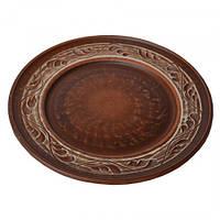 Тарелка 20см Ангоб красная глина ИВ-14014
