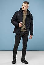 Чорна фірмова чоловіча зимова куртка модель 6015, фото 3