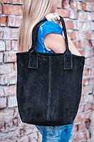 Большая замшевая черная сумка