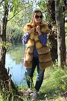 Жилетка из меха натуральной лисы с плечиками длина 80 см