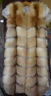 Жилетка из лисы с плечиками длина 90 см