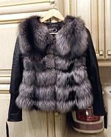 Кожаная куртка перед из меха чернобурки, фото 1