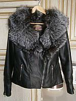 Кожаная куртка с воротником из чернобурки, фото 1