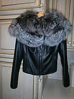 Кожаная куртка с круглым воротником из чернобурки