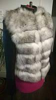 Кожаная куртка перед из натурального меха песца на, фото 1