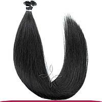 Натуральные Славянские Волосы на Капсулах 50 см 100 грамм, Черный №01